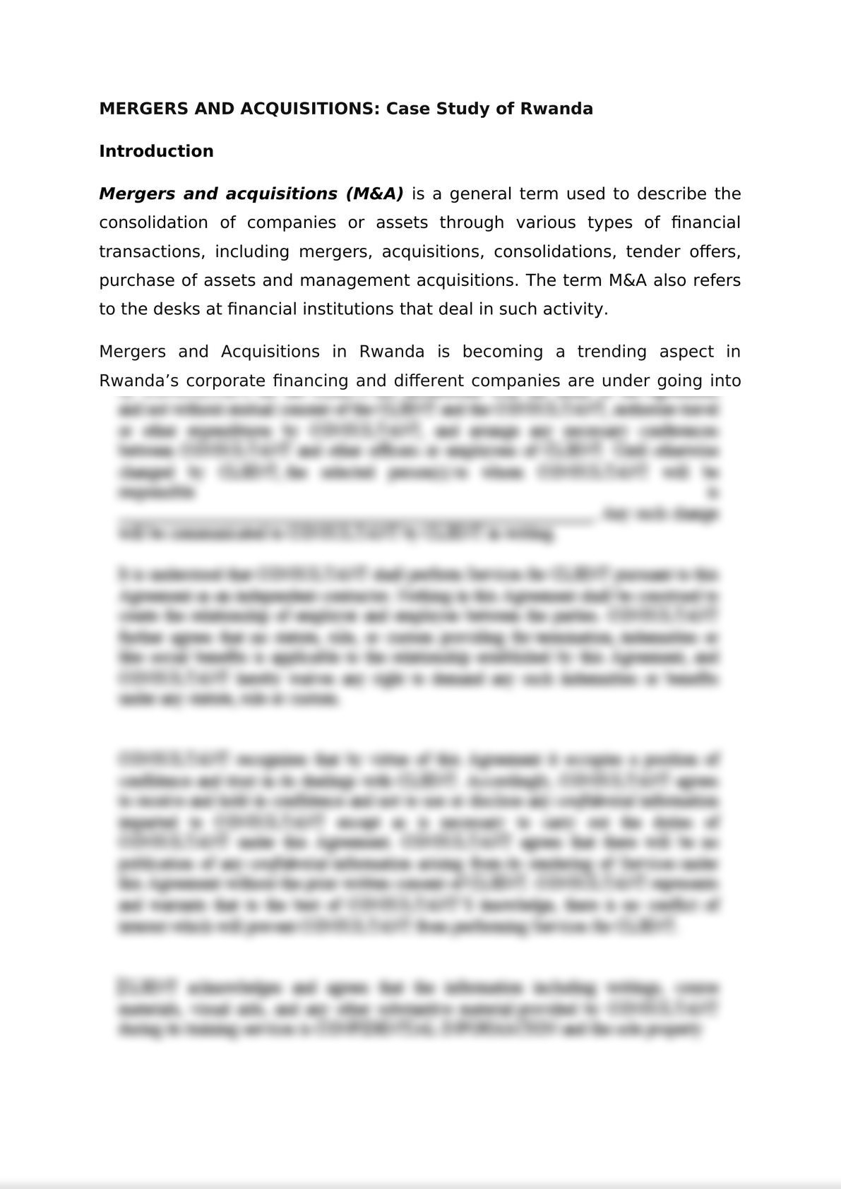 MERGERS AND ACQUISITIONS: Case Study of Rwanda -1