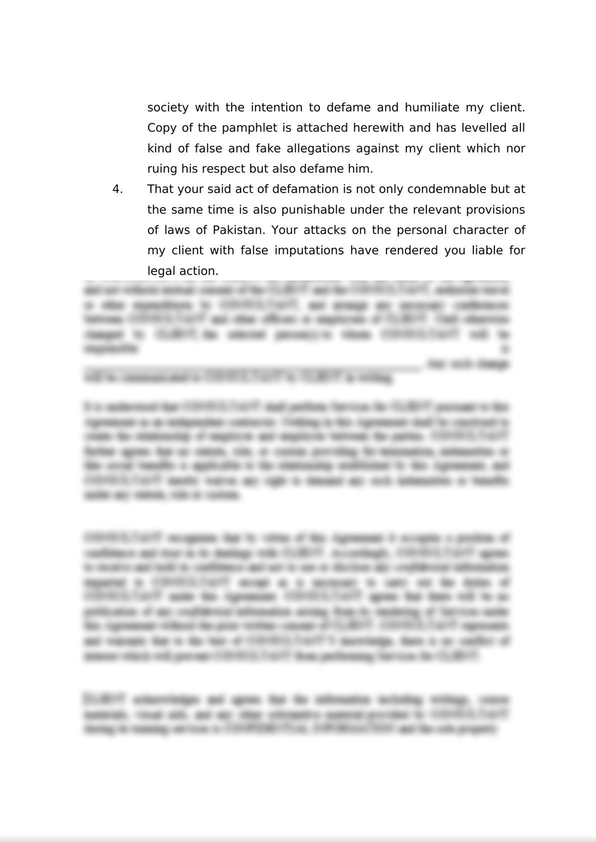 Legal Notice for Defamation -1
