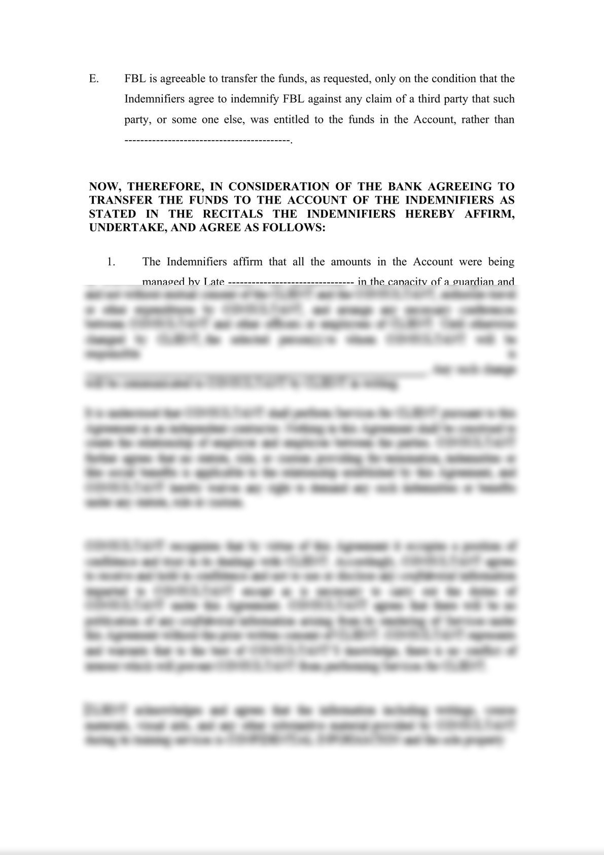 Indemnity Agreement-1