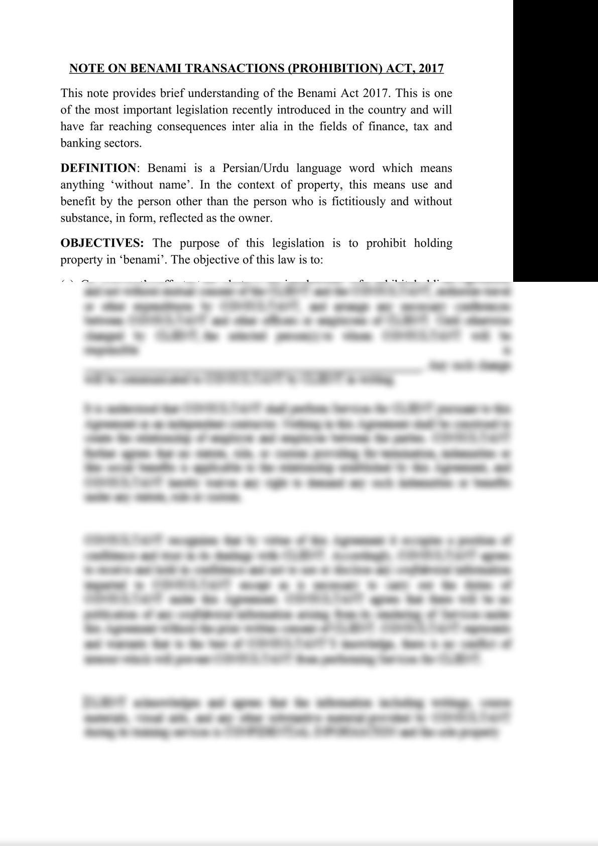 NOTES ON BENAMI TRANSACTIONS (PROHIBITION) ACT, 2017-0
