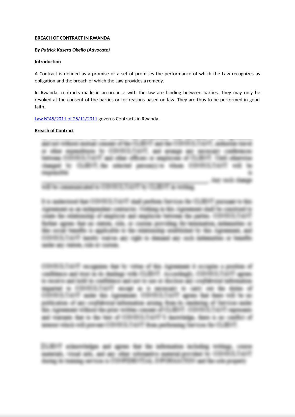 Breach of Contract in Rwanda-0