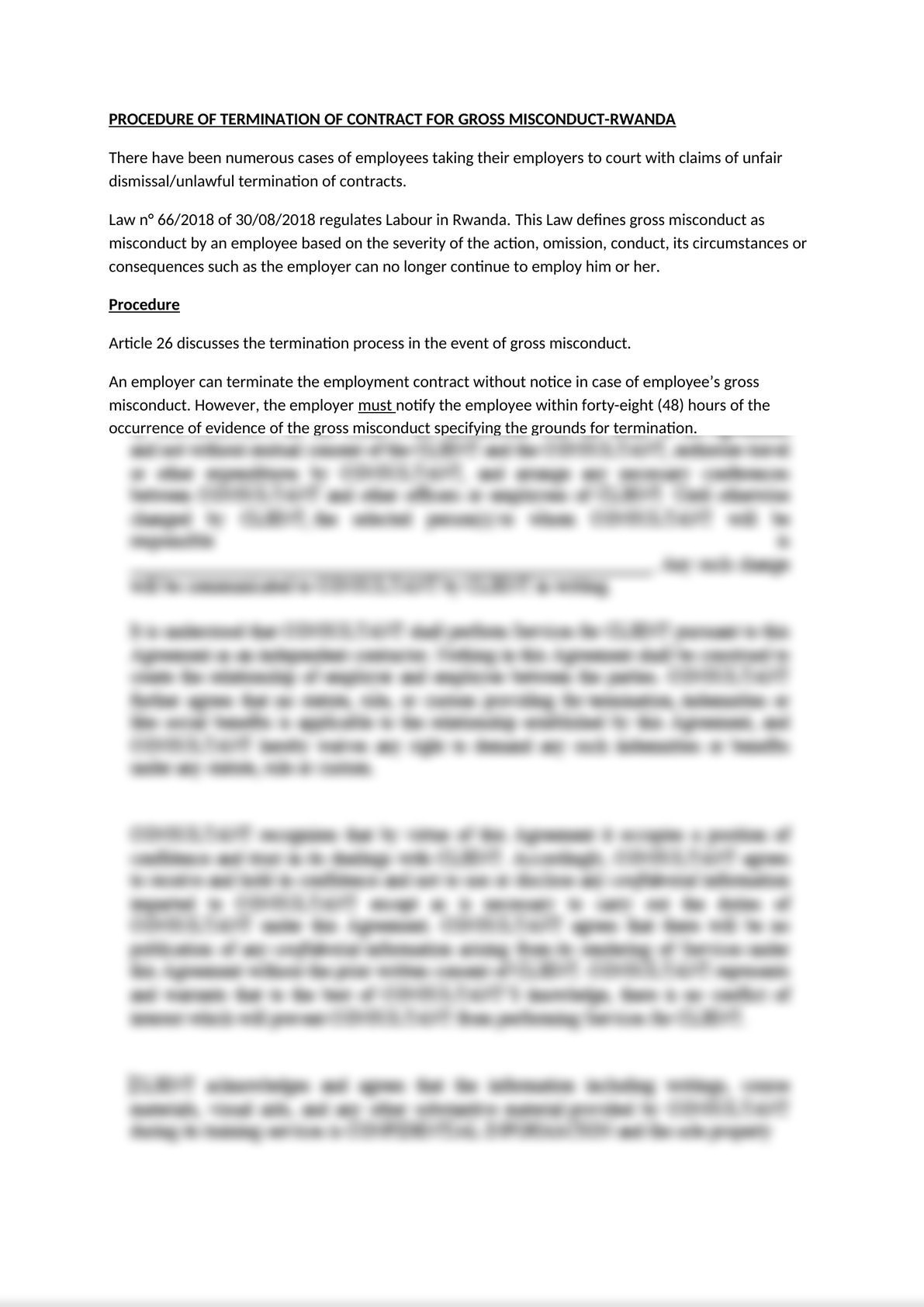 Termination procedure for gross misconduct under Rwanda Labour Law-0