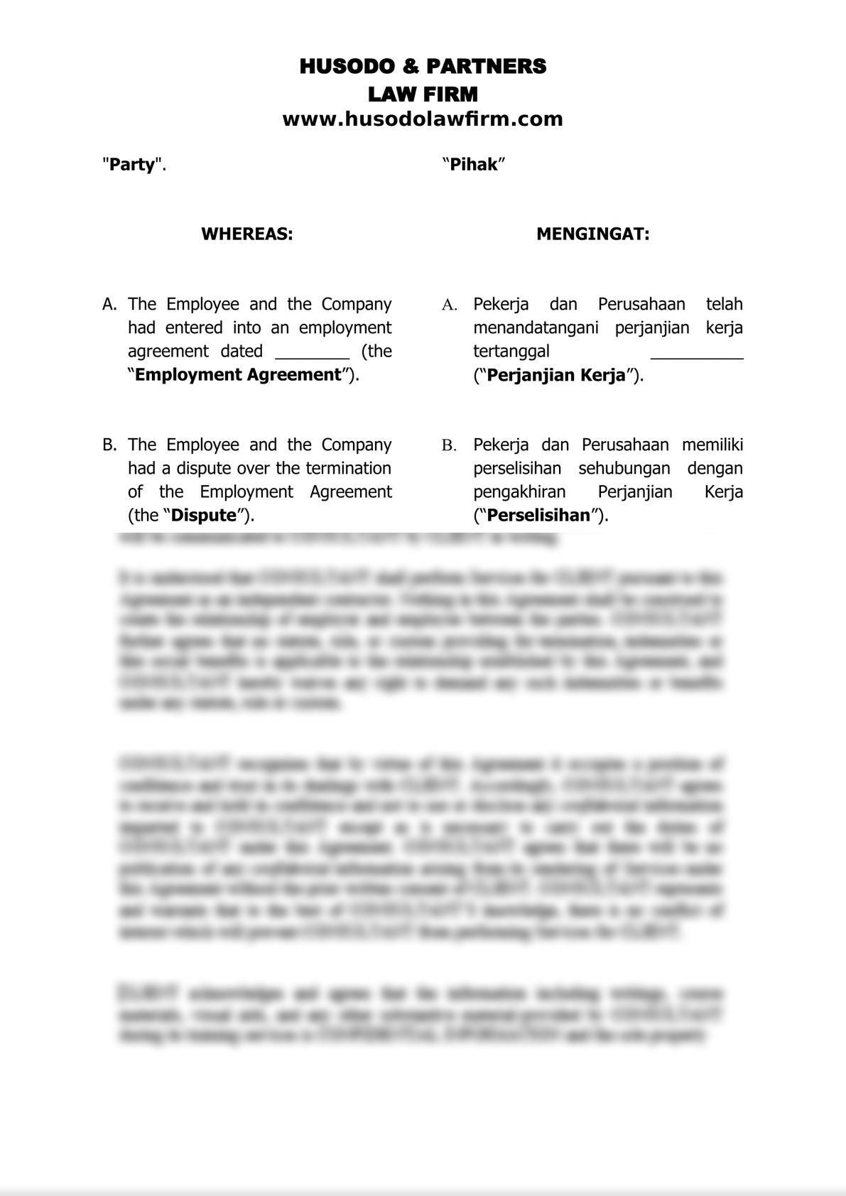 Settlement Agreement of Employment Termination-0