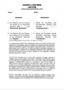Settlement Agreement of Employment Termination