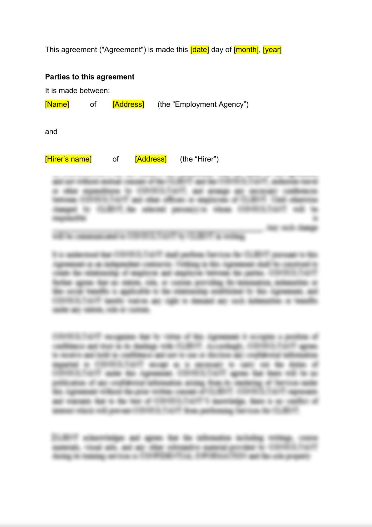 Employment agency agreement: client's version-1