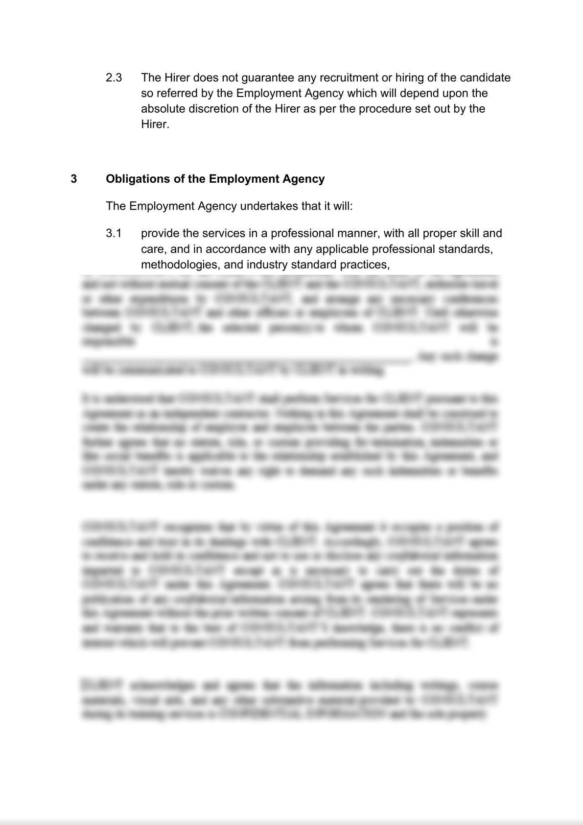 Employment agency agreement: client's version-2