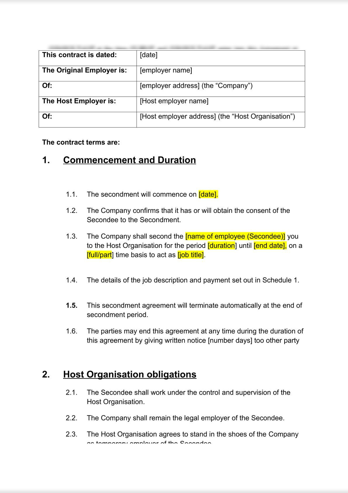 Secondment Agreement: business to business-0