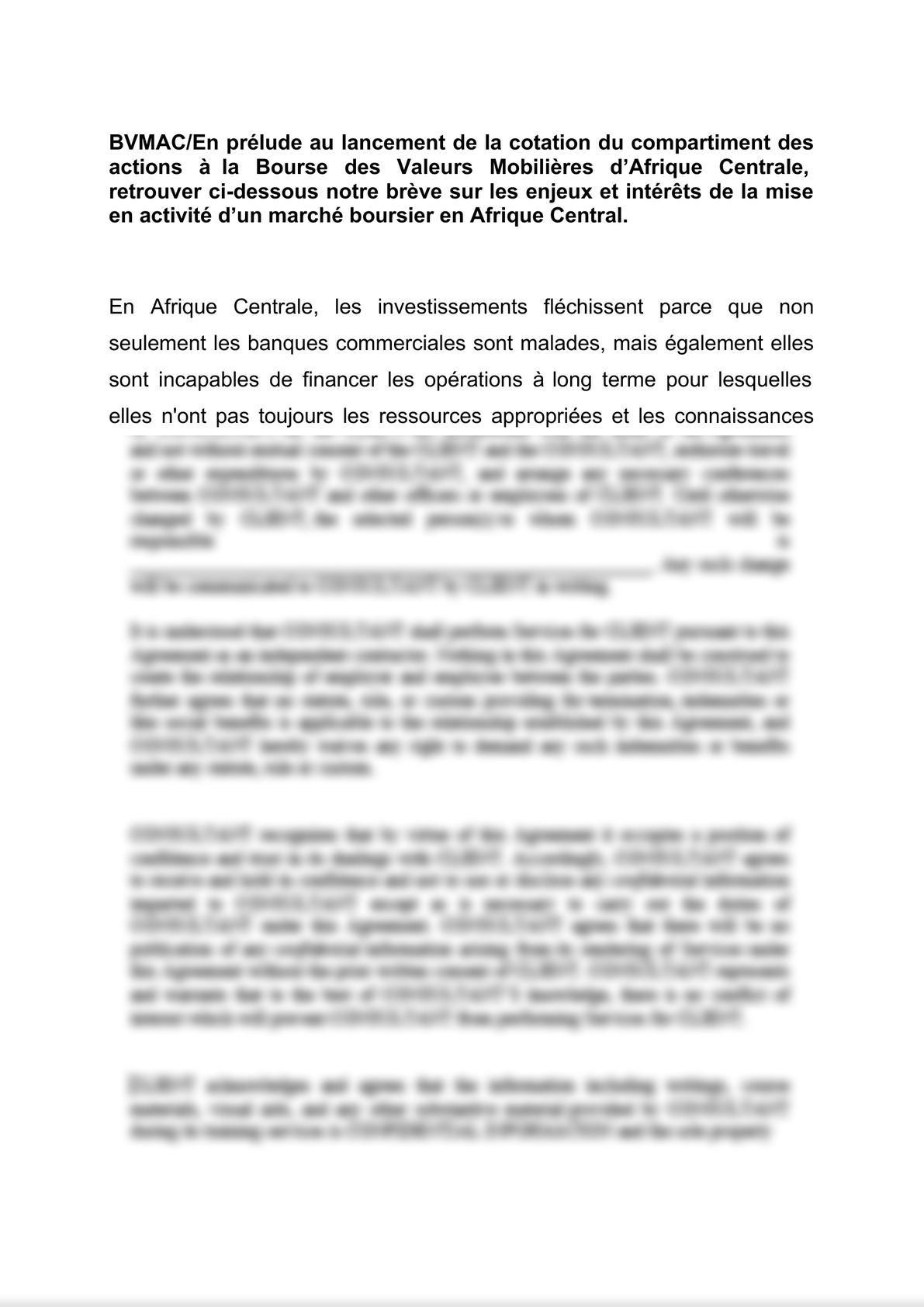 BVMAC/En prélude au lancement de la cotation du compartiment des actions à la Bourse des Valeurs Mobilières d'Afrique Centrale, retrouver ci-dessous notre brève sur les enjeux et intérê-0