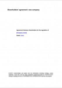 Shareholders' agreement: new company