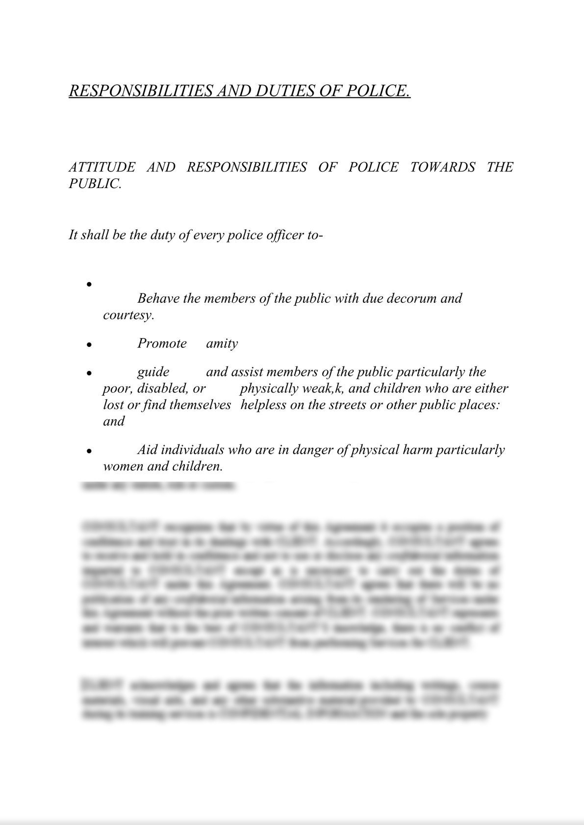 RESPONSIBILITIES AND DUTIES OF POLICE.-0