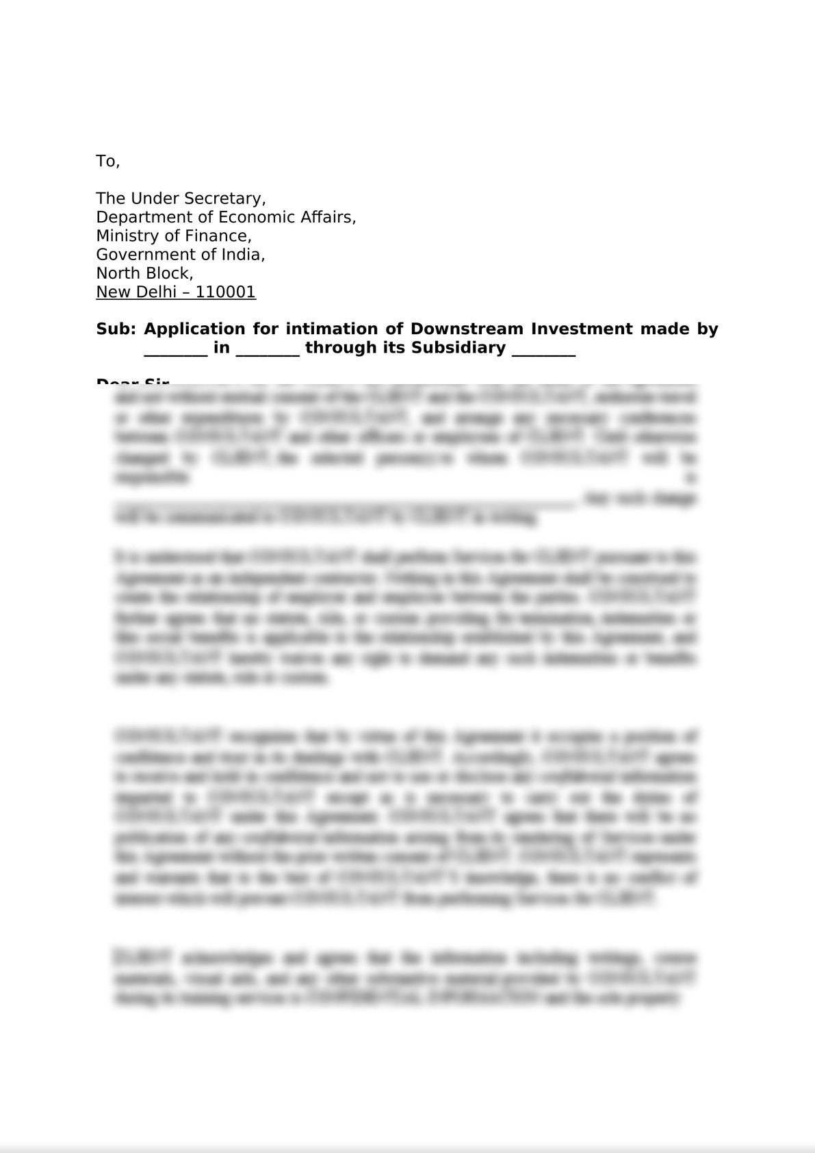 Application for intimation of Downstream Investment made by Holding  Company through its Subsidiary Company-0