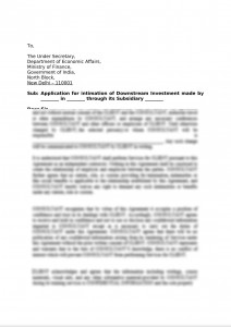Application for intimation of Downstream Investment made by Holding  Company through its Subsidiary Company