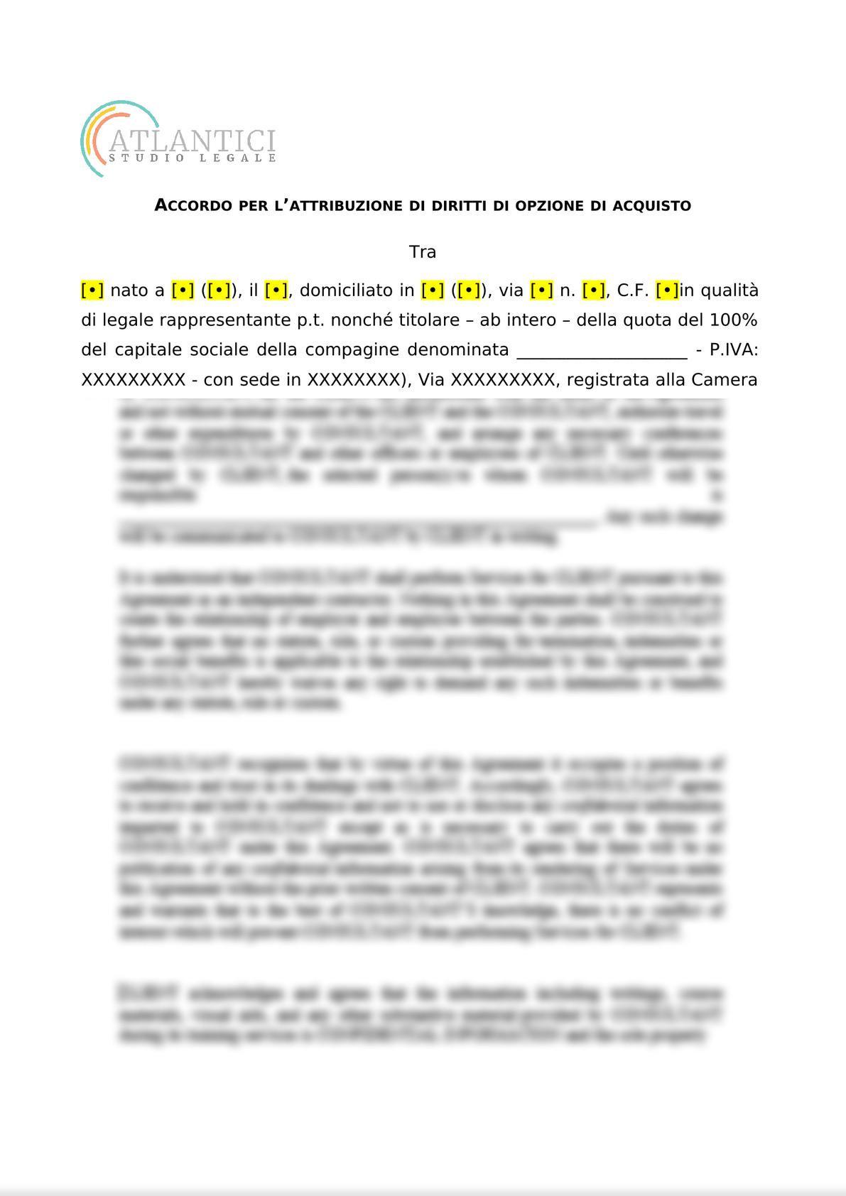 ACCORDO PER L'ATTRIBUZIONE DI DIRITTI DI OPZIONE DI ACQUISTO-0