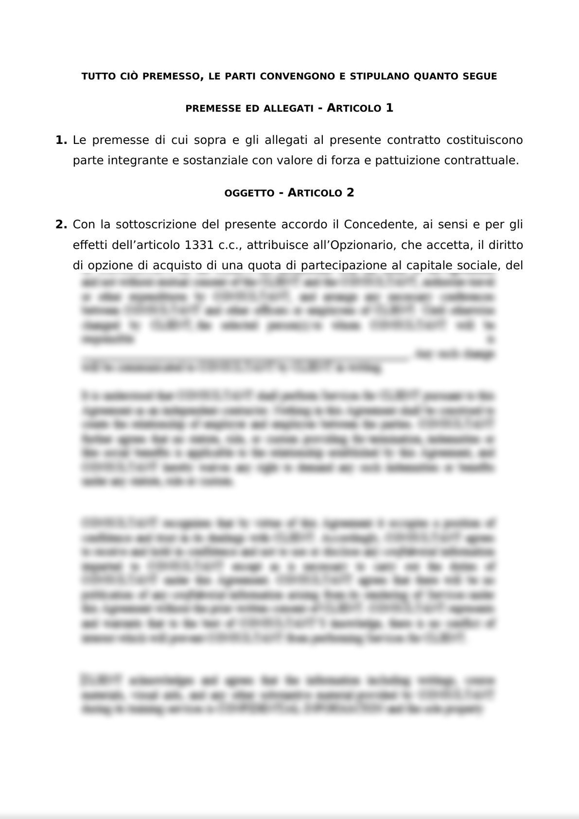 ACCORDO PER L'ATTRIBUZIONE DI DIRITTI DI OPZIONE DI ACQUISTO-1