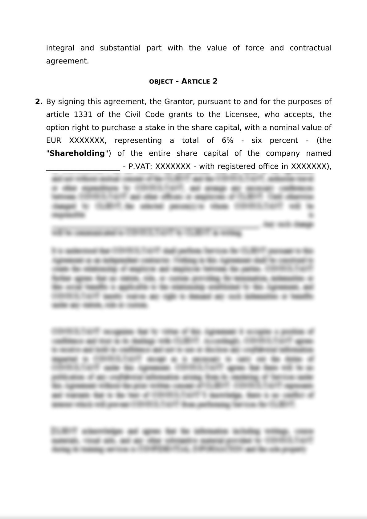 Agreement for the granting of purchase option rights-1