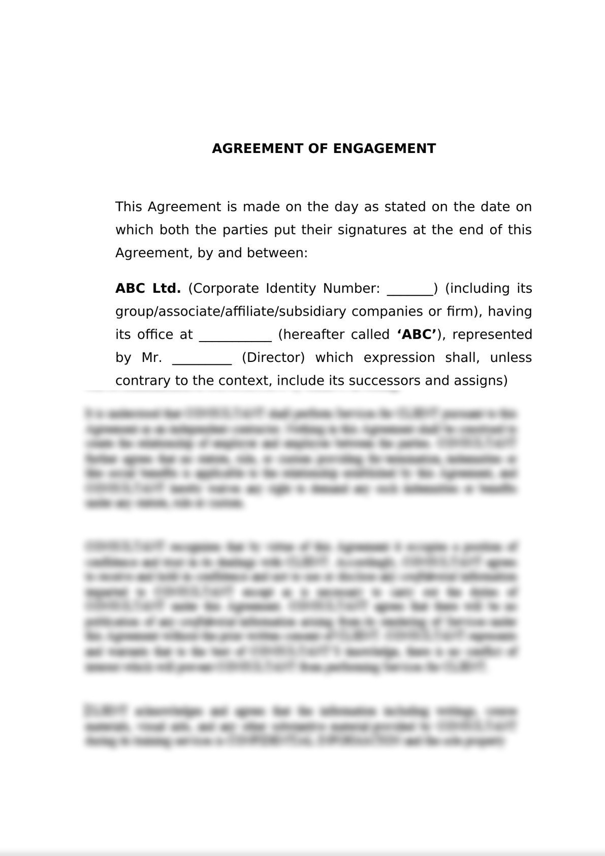 Engagement Letter for M&A-0