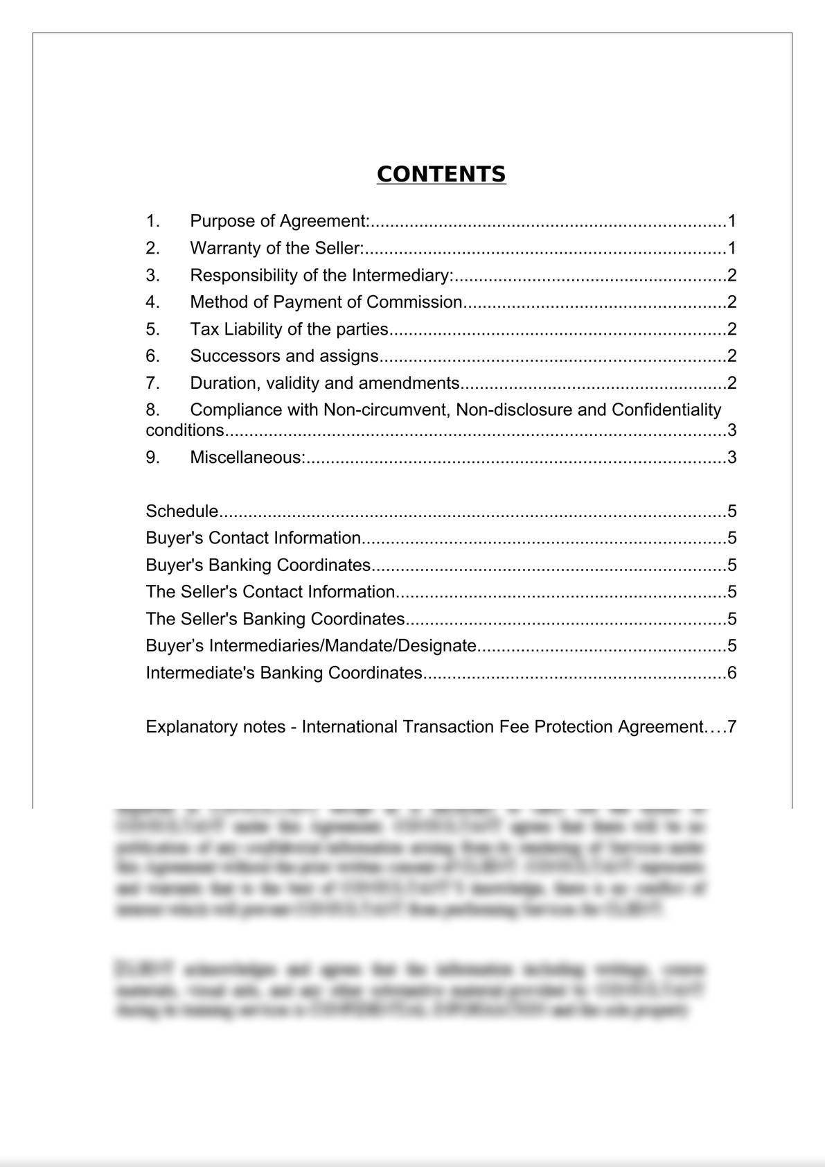 International Transaction Fee Protection Agreement-1