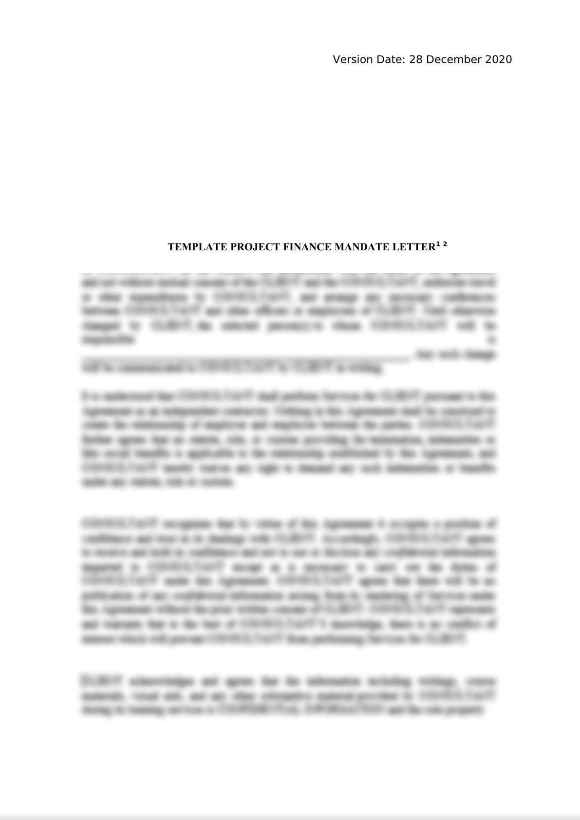 Template Project Finance Mandate Letter-0