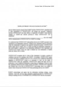 Template Project Finance Mandate Letter