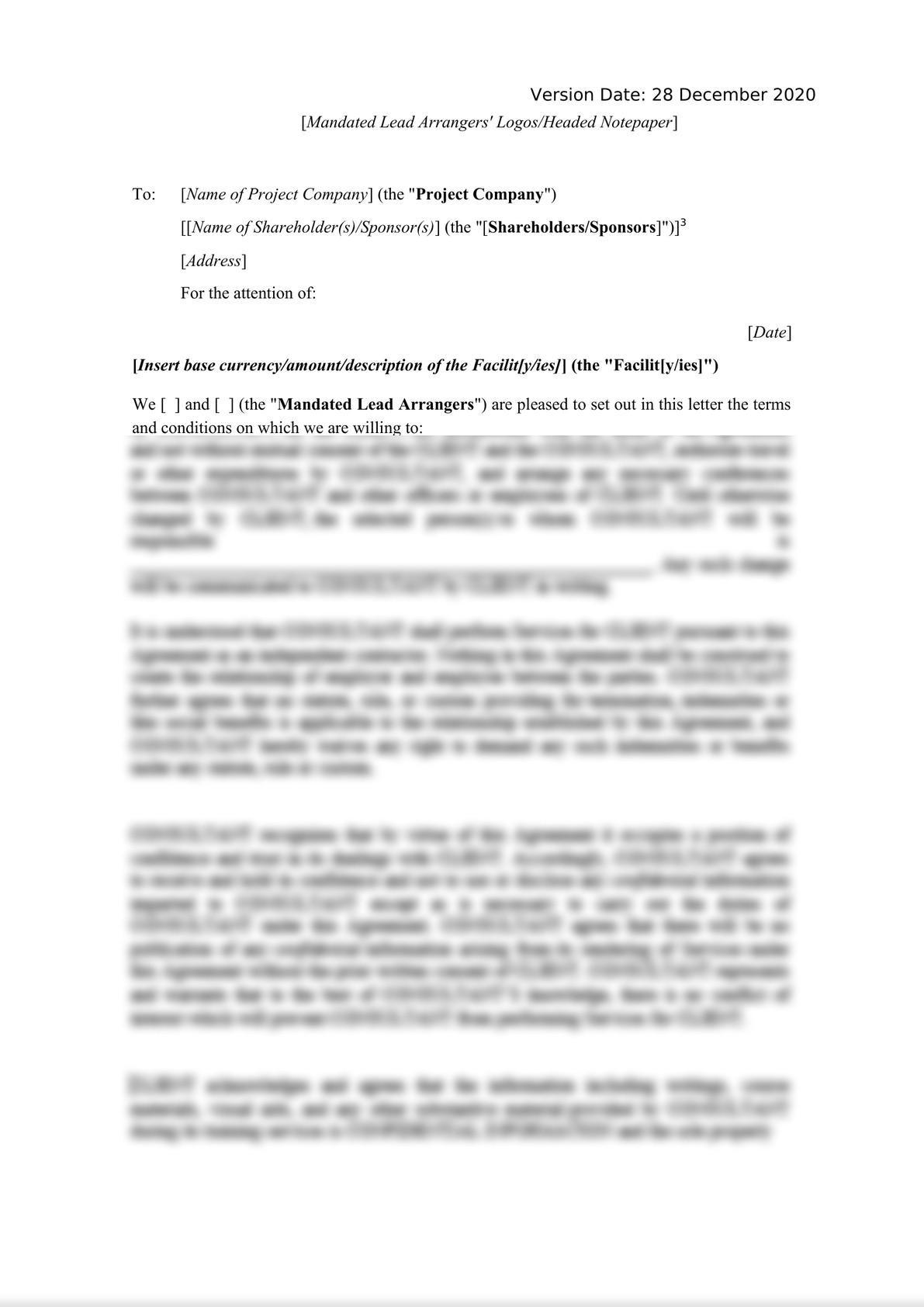 Template Project Finance Mandate Letter-1