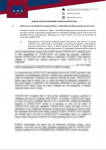 SOME NOTES ON CONSUMERS' RIGHTS PROTECTION