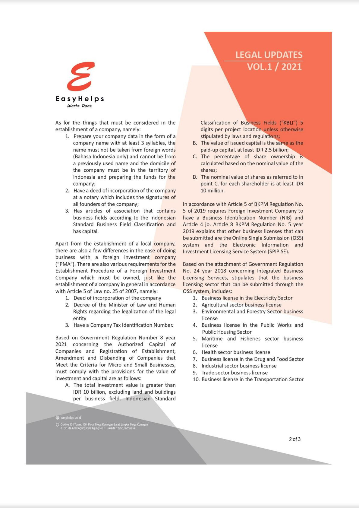 Establishment of a Business Entities Pursuant to the Job Creation Act No. 11 of 2020 - Indonesia-1