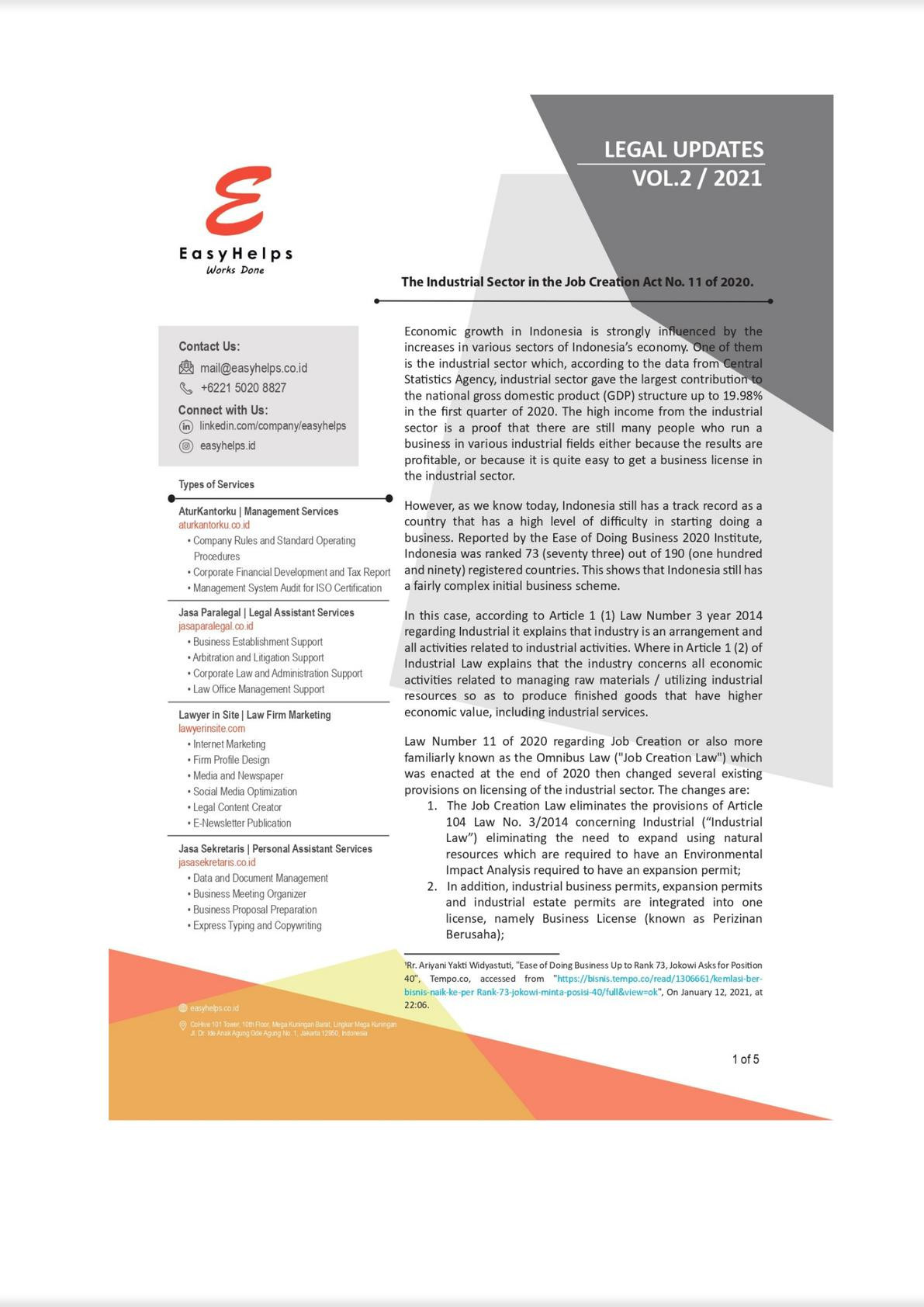 The Industrial Sector in the Job Creation Act No. 11 of 2020 New Regulation in Indonesia-0