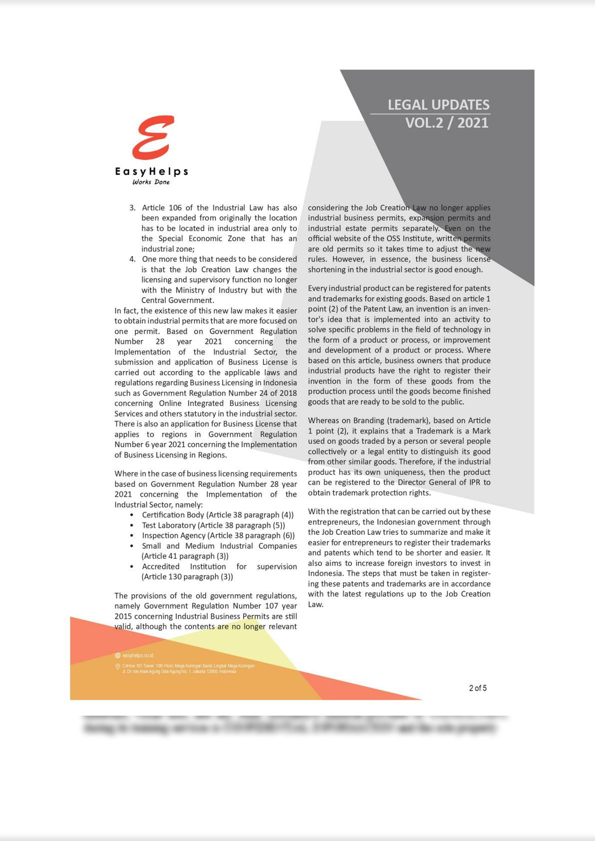 The Industrial Sector in the Job Creation Act No. 11 of 2020 New Regulation in Indonesia-1