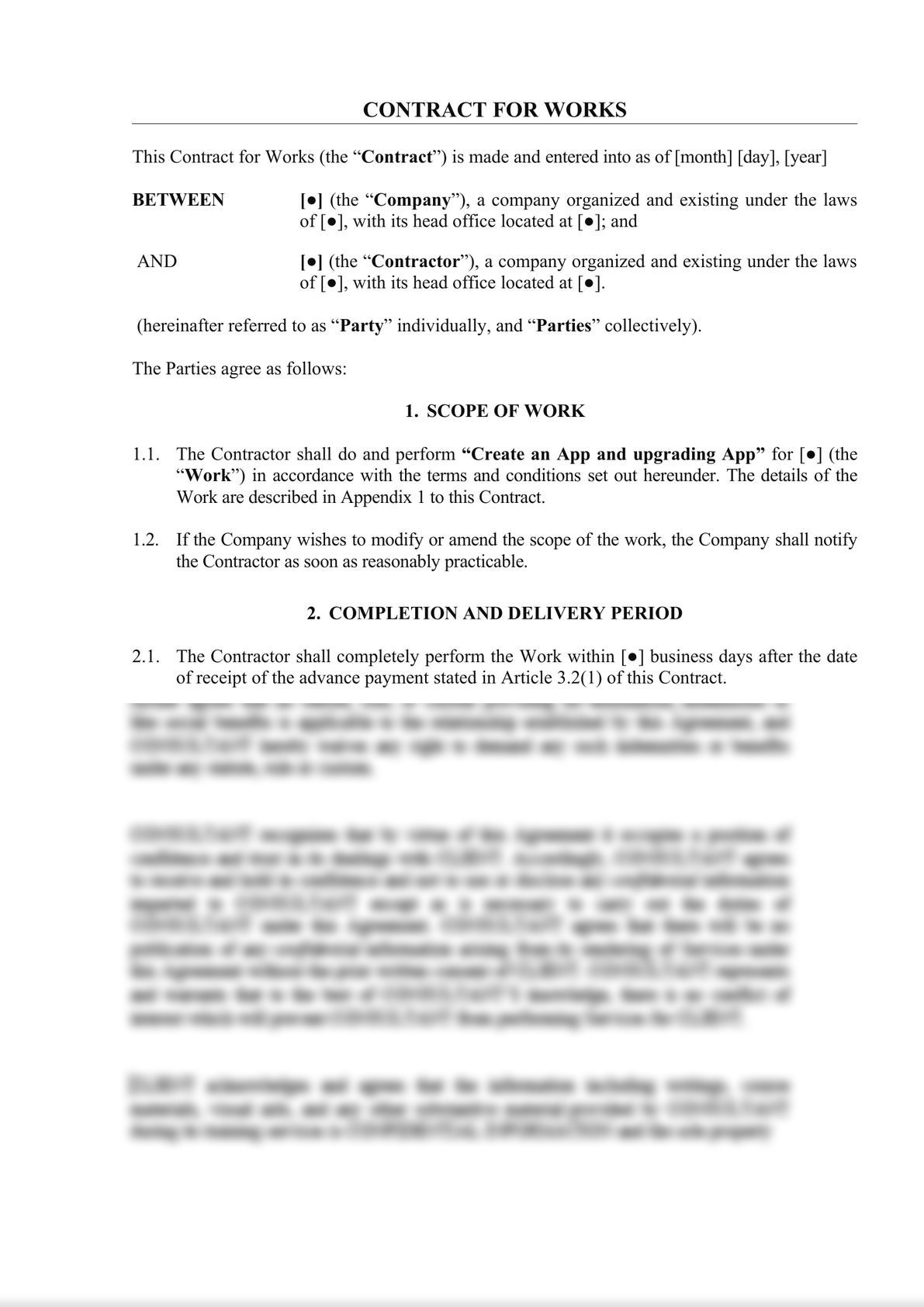 Contract for works (System or App)-0