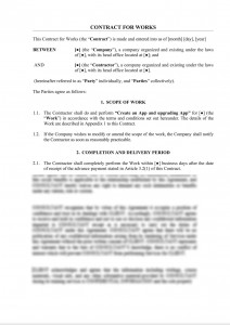Contract for works (System or App)