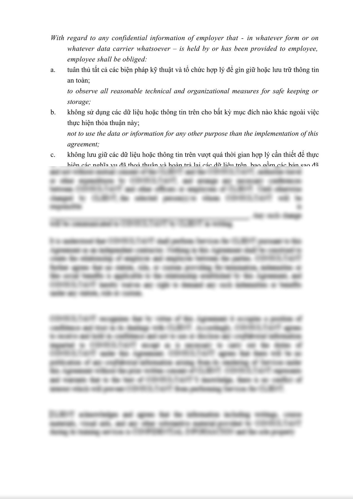 Confidential Disclosure Agreement with Employee bilingual English -Vietnamese-1