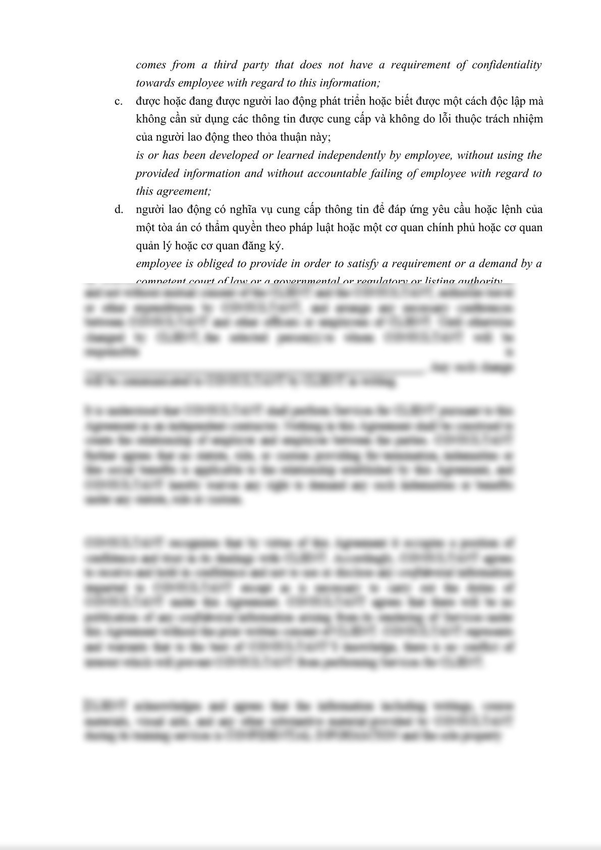 Confidential Disclosure Agreement with Employee bilingual English -Vietnamese-2