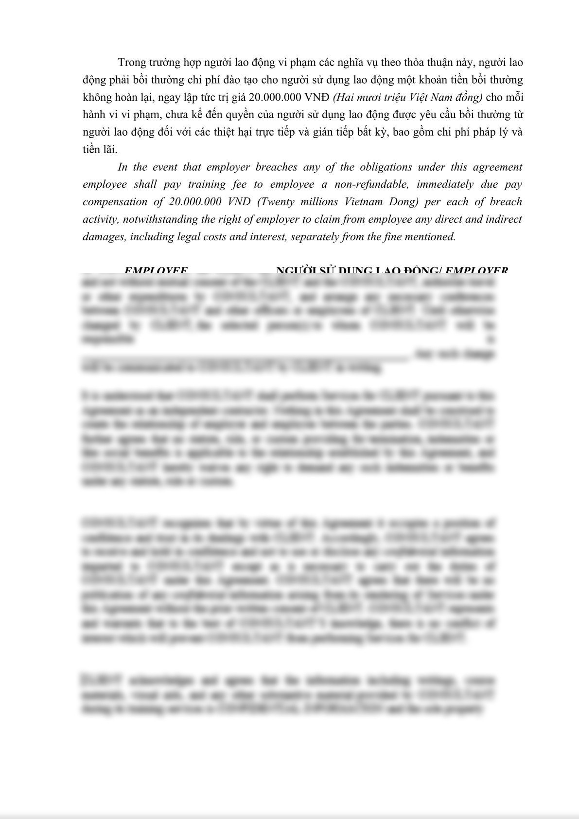 Confidential Disclosure Agreement with Employee bilingual English -Vietnamese-3