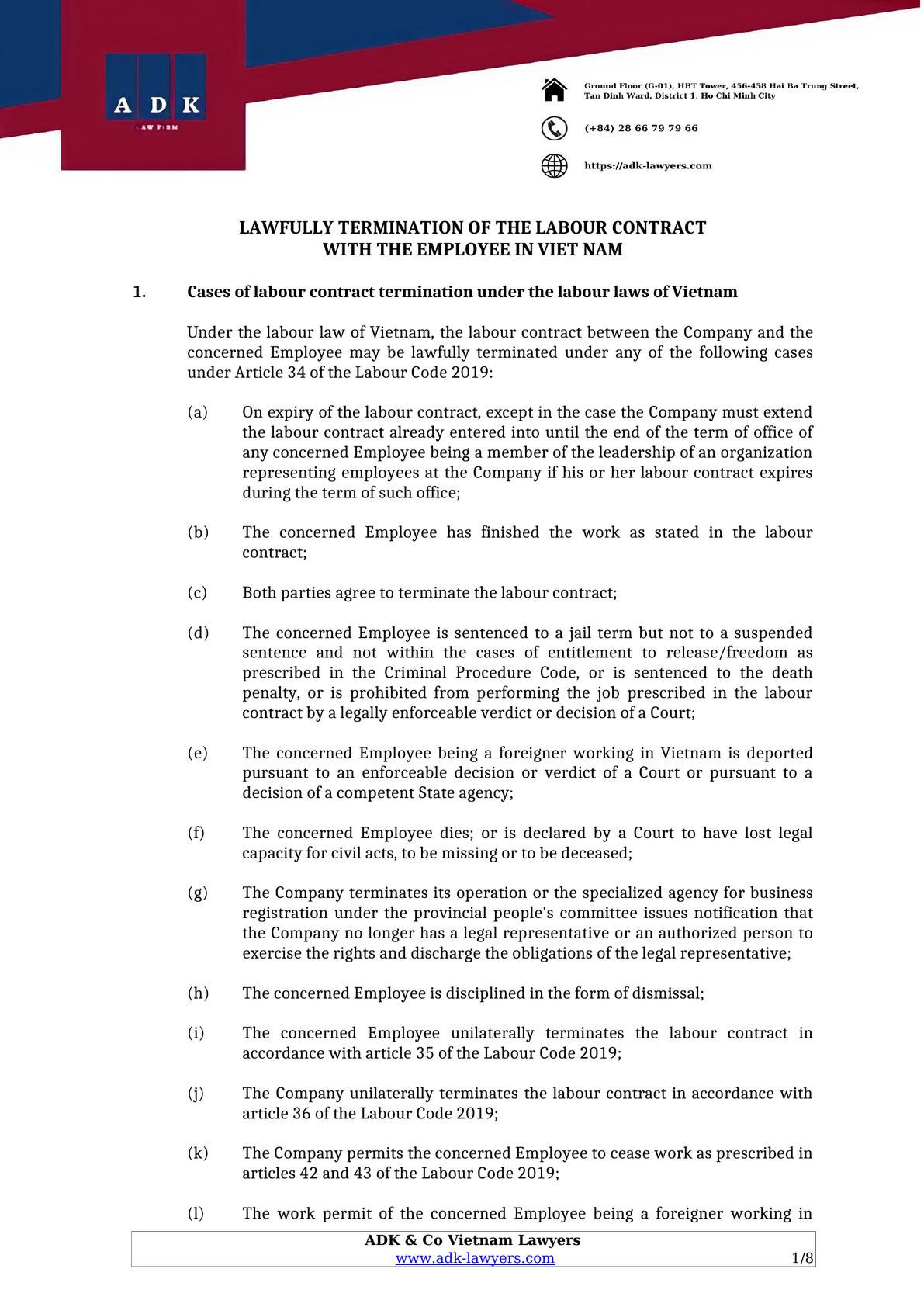 Legal article about labor contract termination -0