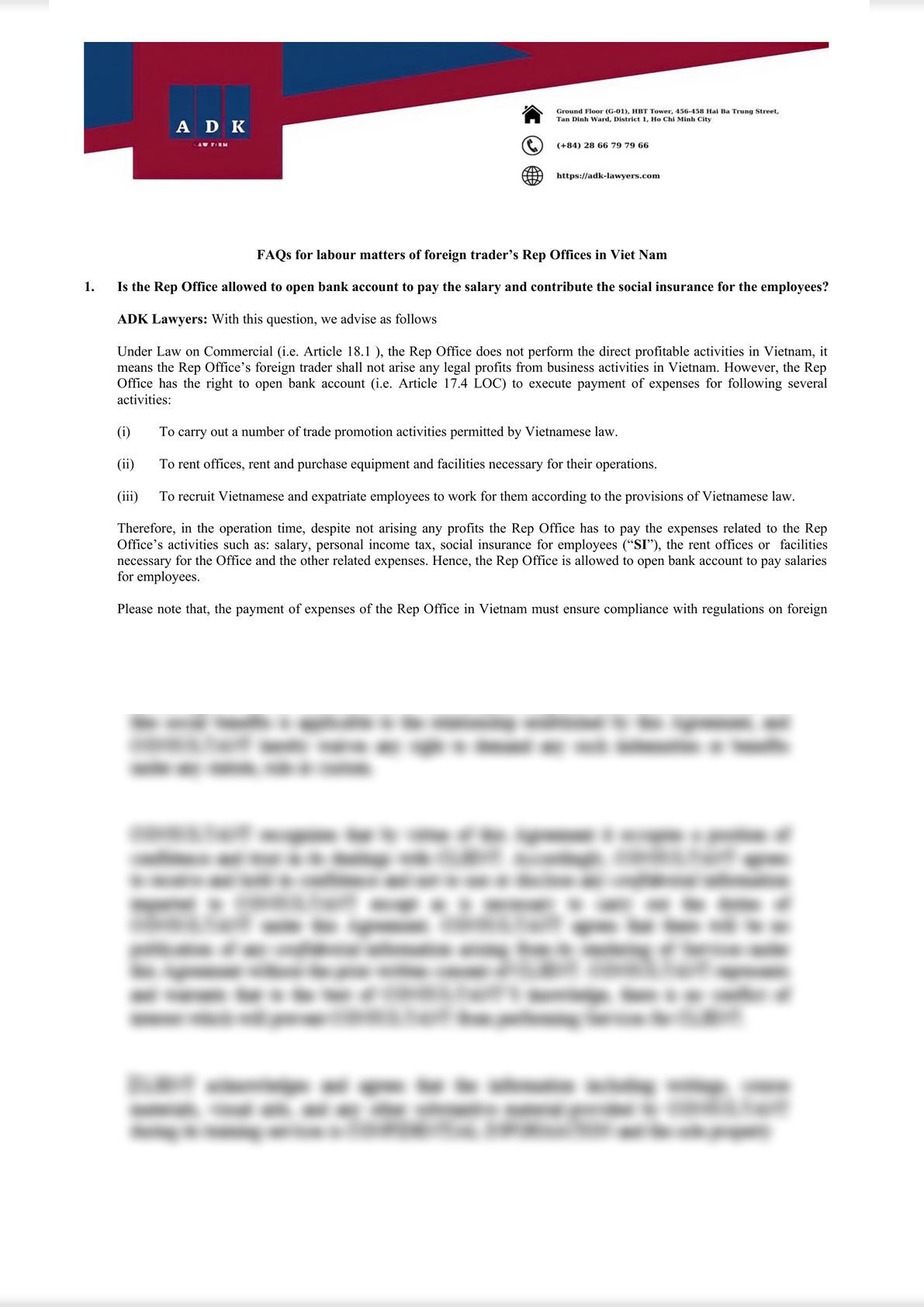 FAQs for labour matters of foreign trader's Rep Offices in Viet Nam-0