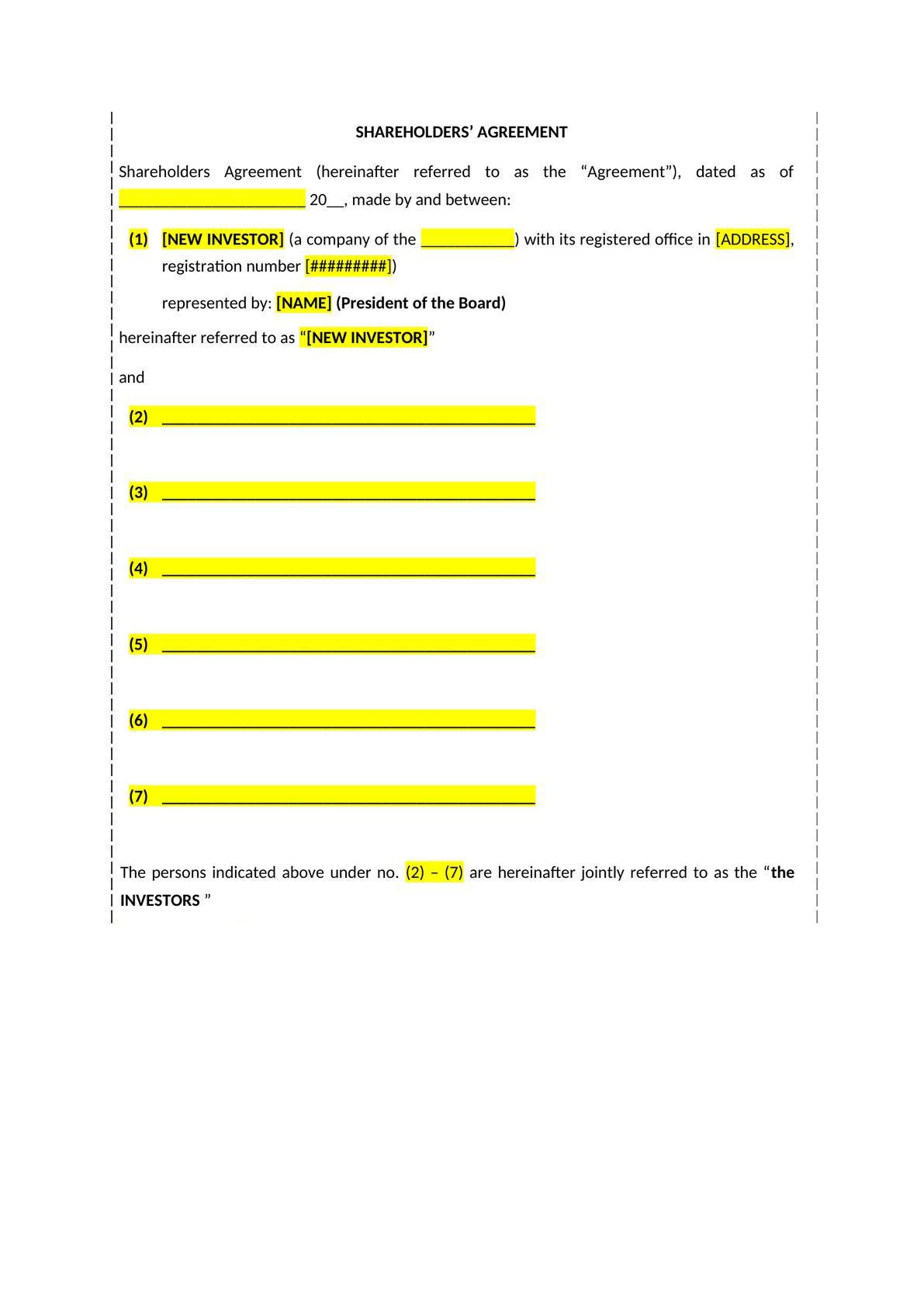 Shareholders' agreement-1