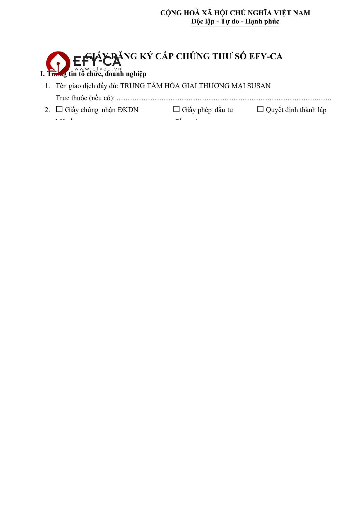 The form to register the digital signature -0