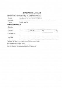 Form of apartment and key handover minutes (certificate)