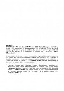 Sub License Agreement for theme park