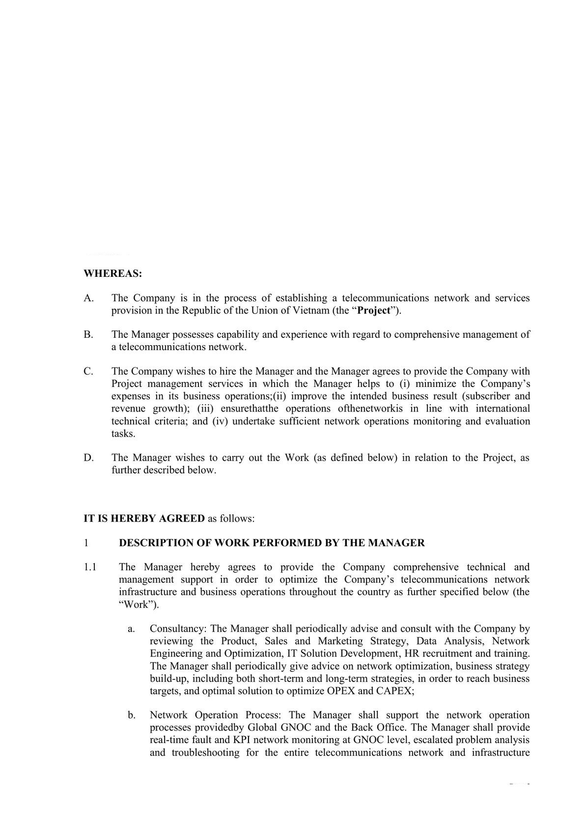Technical and Management Service Agreement in Telecom -1
