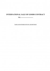 International Sale of Goods Contract