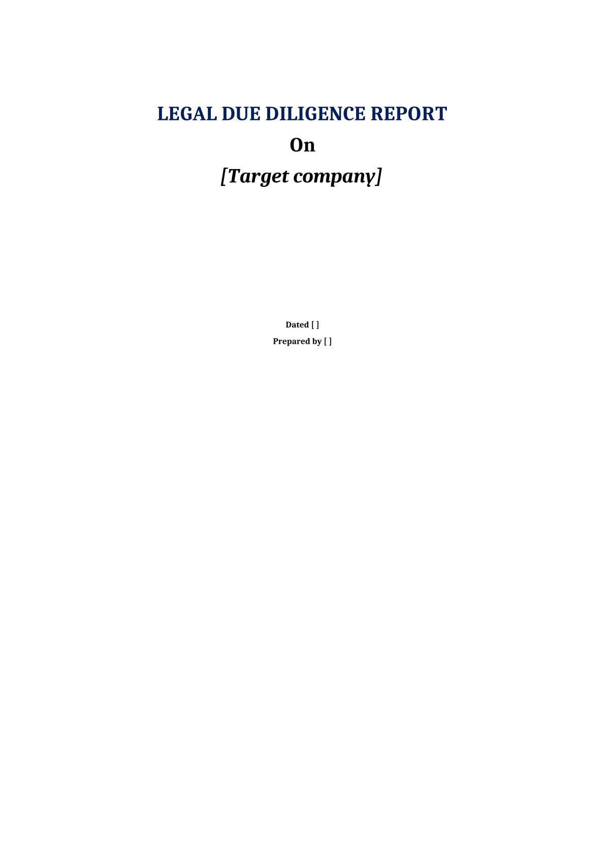 Legal Due Diligence (LDD) report template for M&A deals on a target company (in Vietnam)-0
