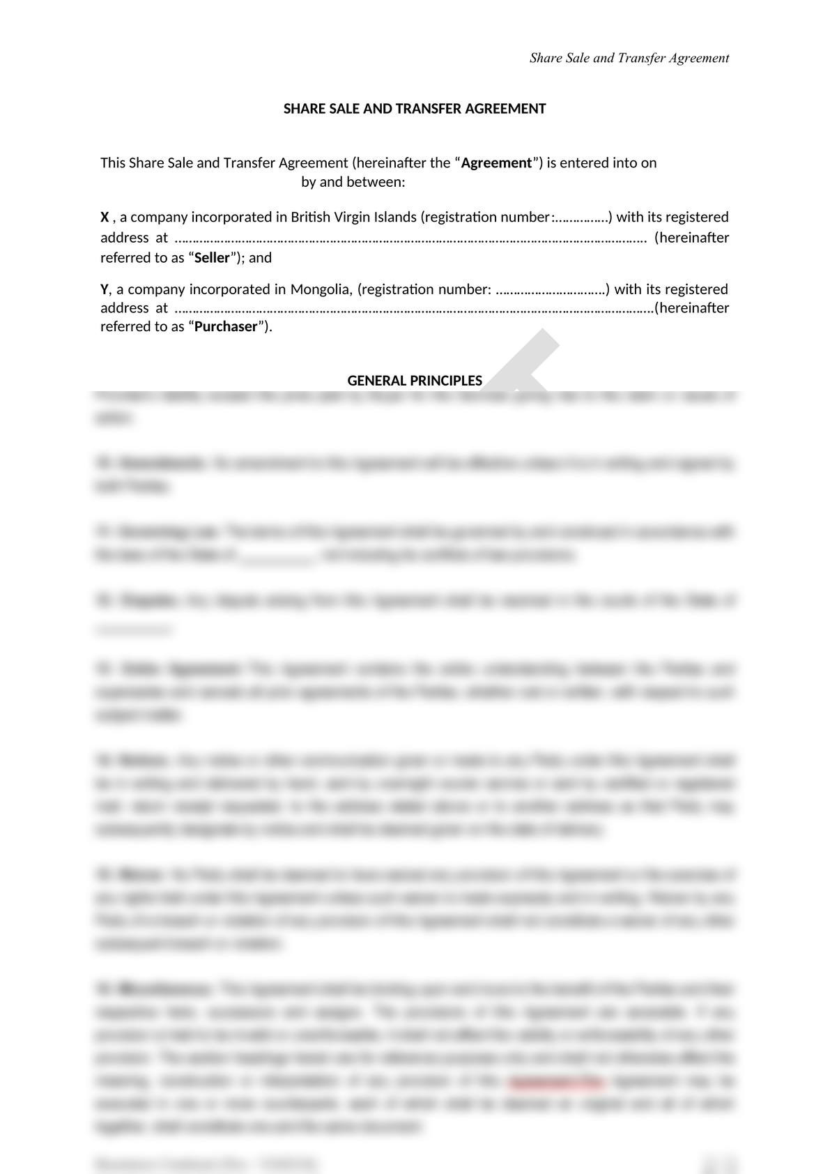 Share Sale and Purchase Agreement in Mongolia-2