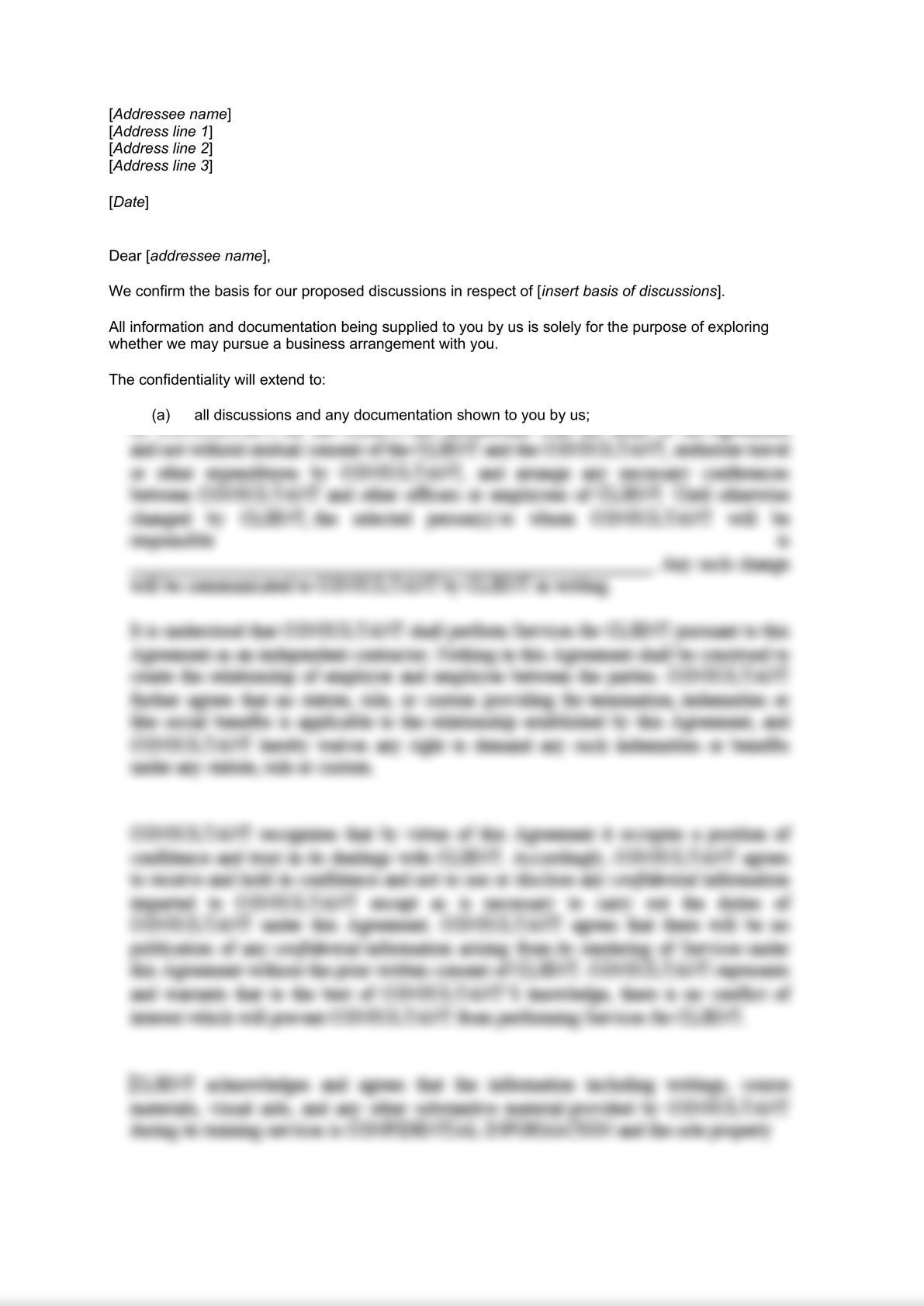 Confidentiality Letter - Short Form-0