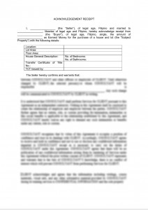 Acknowledgement Receipt - Purchase of Property