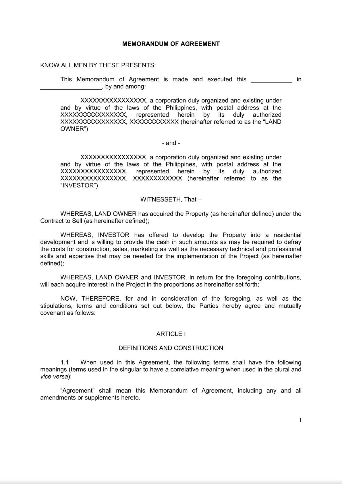 Memorandum of Agreement - Property Development-0
